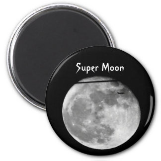 Super Moon with Airplane Passing/Customizable! Magnet