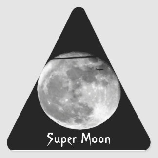 Super Moon with Airplane Passing/Customizable! Triangle Sticker