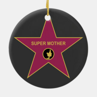 Super Mother - Hollywood Mother Star Double-Sided Ceramic Round Christmas Ornament