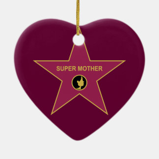 Super Mother - Hollywood Mother Star Double-Sided Heart Ceramic Christmas Ornament