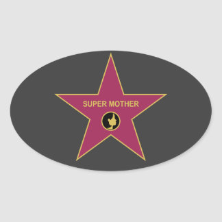 Super Mother - Hollywood Mother Star Oval Sticker