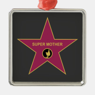 Super Mother - Hollywood Mother Star Square Metal Christmas Ornament