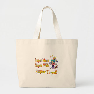 Super Mum, Wife, Tired. Design for Busy Mothers. Canvas Bag