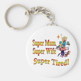 Super Mum, Wife, Tired. Design for Busy Mothers. Basic Round Button Keychain