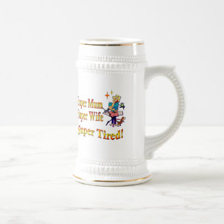 Super Mum, Wife, Tired. Design for Busy Mothers. Beer Stein