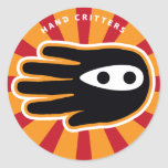 Hand shaped Super Ninja Hand Classic Round Sticker