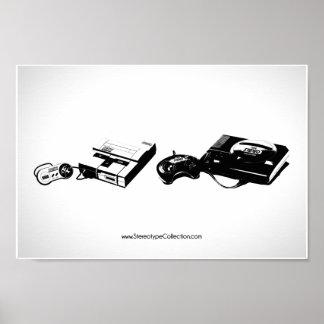 Super Nintendo Sega Genesis Poster by Stereotype