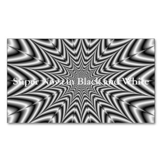 Super Nova in Black and White Business Card Magnet