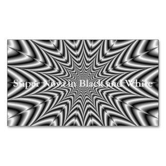 Super Nova in Black and White Business Card Magnet
