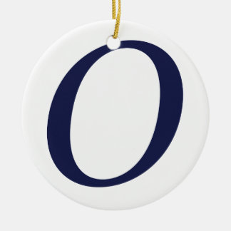 SUPER O BLUE -.png Double-Sided Ceramic Round Christmas Ornament