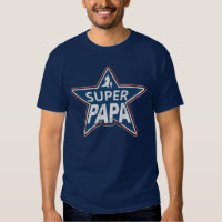 Super Papa Red White and Blue Shirts