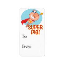 super pig superhero pig flying label