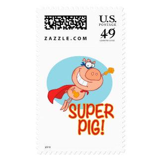 super pig superhero pig flying stamp