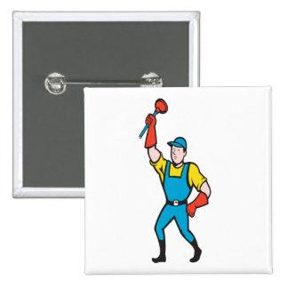 Super Plumber Wielding Plunger Cartoon Buttons