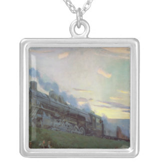 Super power steam engine, 1935 silver plated necklace