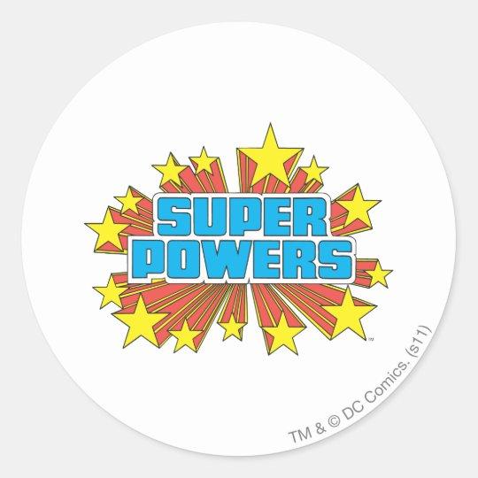 Super Powers™  Logo Blue Classic Round Sticker