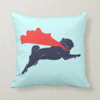 Super Pug Throw Pillow