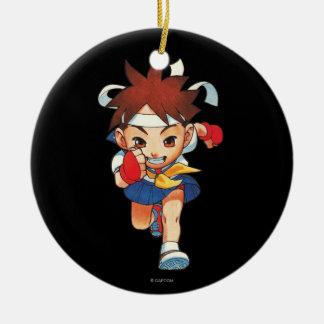 Super Puzzle Fighter II Turbo Sakura Double-Sided Ceramic Round Christmas Ornament