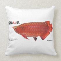 Super Red Arowana Throw Pillow