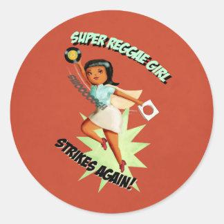 Super Reggae Girl Classic Round Sticker