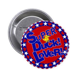 SUPER RUBBER DUCKIE LOVER HEARTS STARS BUTTON