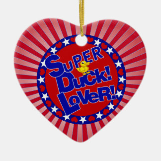 SUPER RUBBER DUCKIE LOVER HEARTS STARS CERAMIC ORNAMENT