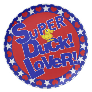 SUPER RUBBER DUCKIE LOVER HEARTS STARS MELAMINE PLATE