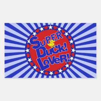 SUPER RUBBER DUCKIE LOVER HEARTS STARS RECTANGULAR STICKER