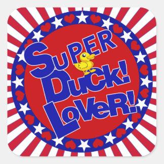 SUPER RUBBER DUCKIE LOVER HEARTS STARS SQUARE STICKER