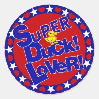 SUPER RUBBER DUCKIE LOVER HEARTS STARS CLASSIC ROUND STICKER