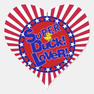 SUPER RUBBER DUCKIE LOVER HEARTS STARS HEART STICKER