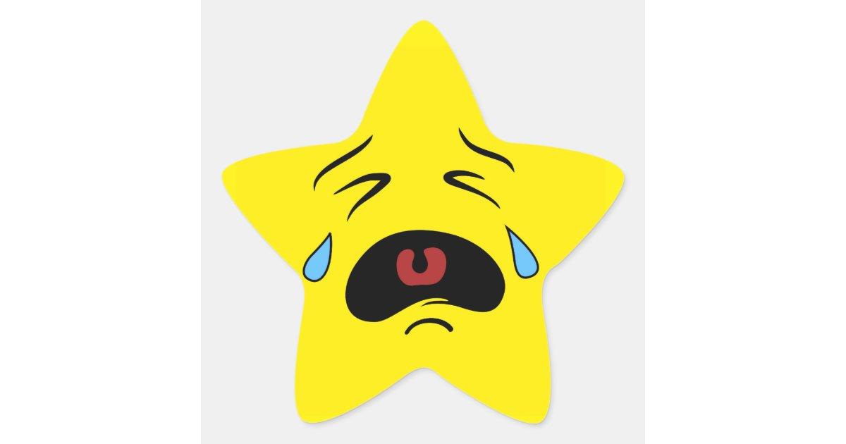 Super Sad Crying Face Emoji Star Sticker Zazzle Com
