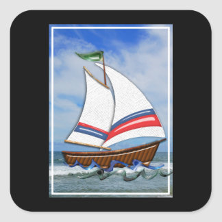 Super Sailboat on the High Sea Sticker