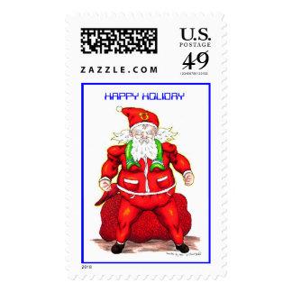 Super Santa, HAPPY HOLIDAY Postage Stamps