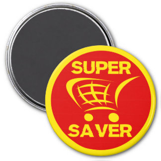 Super Saver Retail Shopping Label 3 Inch Round Magnet