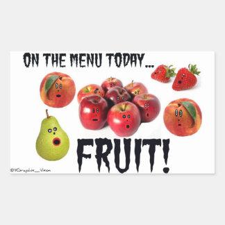 Super Scared Fruit Cartoon Rectangular Sticker