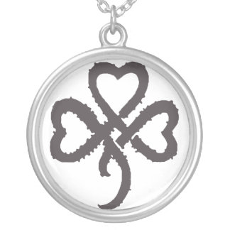 Super Shamrock - Black Silver Plated Necklace