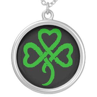 Super Shamrock - Lucky Bastard Green Round Pendant Necklace
