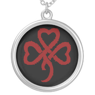 Super Shamrock - Red Silver Plated Necklace