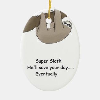 Super Sloth Hero Ceramic Ornament