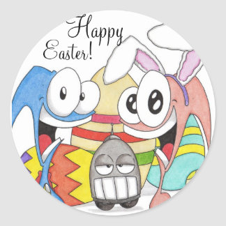 Super Slug and Chuck Easter Classic Round Sticker