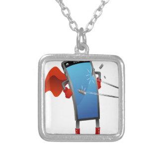 Super Smart Phone Cartoon Square Pendant Necklace