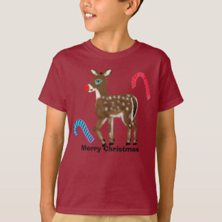 Super Snow the Blue Eyed Reindeer Merry Christmas T-Shirt