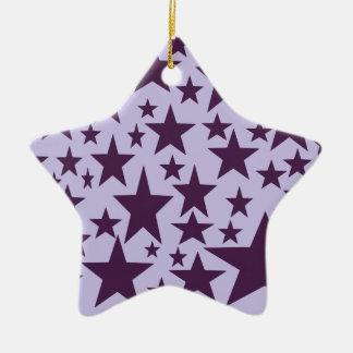 Super sonic stars in purple. ceramic ornament
