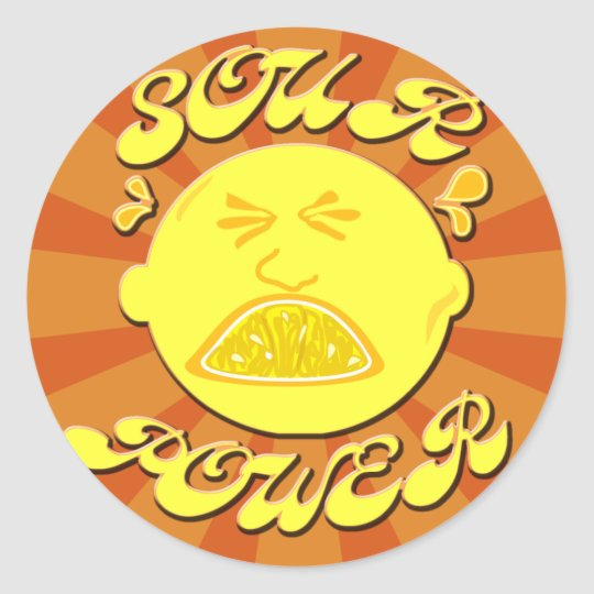 Super sour power classic round sticker