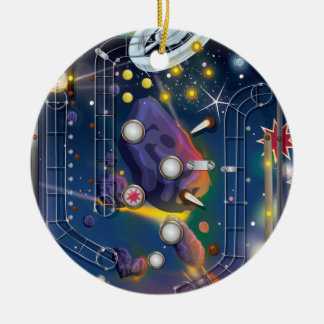 Super Space Pinball Machine Double-Sided Ceramic Round Christmas Ornament