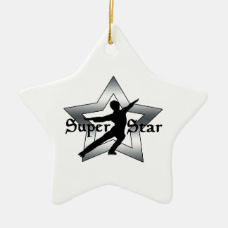 SUPER STAR BOY FIGURE SKATER,  SILVER CERAMIC ORNAMENT