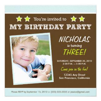 Super Star! Boy's Blue Birthday Party Invitation