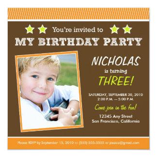 Super Star! Boy's Orange Birthday Party Invite