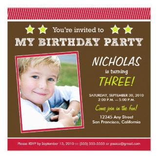 Super Star! Boy's Red Birthday Party Invitation